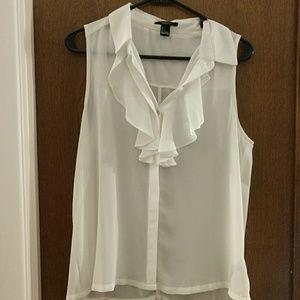 White ruffle blouse